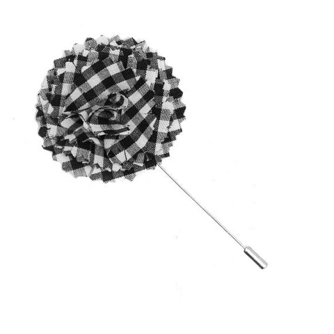 Black and White Gingham Plaid Flower Lapel Pin - The Detailed Male