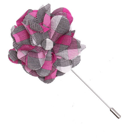 Gray, Pink and White Plaid Lapel Flower Pin - The Detailed Male