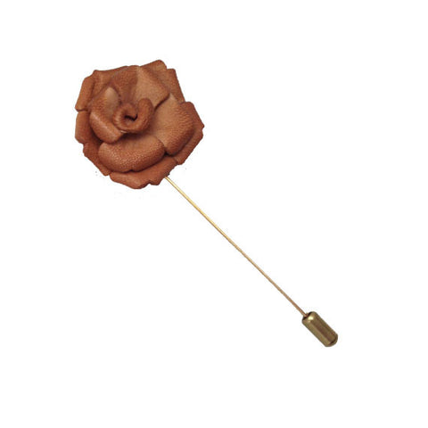 Tan Leather Lapel Flower Pin - The Detailed Male