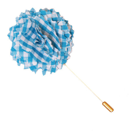 Turquoise and White Gingham Plaid Lapel Flower Pin - The Detailed Male