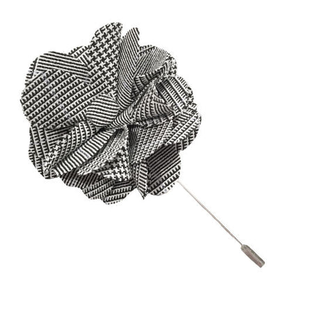 Gray Plaid Lapel Flower Pin - The Detailed Male