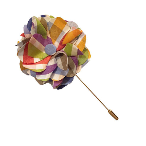 Multi Colored Plaid Lapel Flower Pin - The Detailed Male