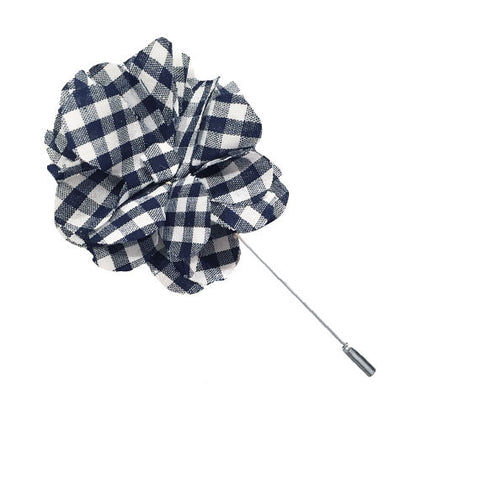 Navy Blue and White Gingham Lapel Flower Pin - The Detailed Male