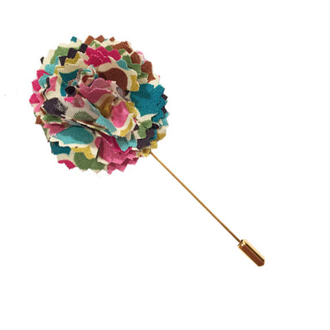 Multi Colored Geometric Print Lapel Flower Pin - The Detailed Male