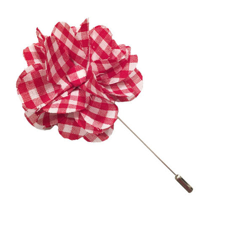 Red and White Gingham Lapel Flower Pin - The Detailed Male