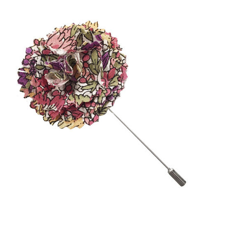 Gray and Multi Colored Floral Print Lapel Flower Pin - The Detailed Male