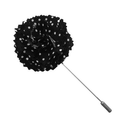 Black and White Dot Lapel Flower Pin - The Detailed Male