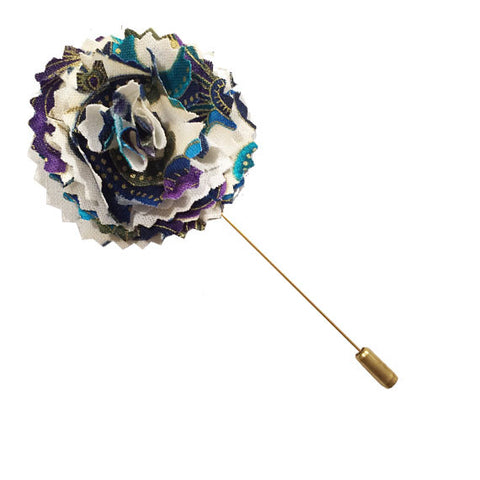 Purple, Gold and Turquoise Floral Print Lapel Flower Pin - The Detailed Male