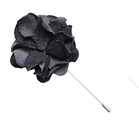 Blue Gray Denim Lapel Flower Pin - The Detailed Male