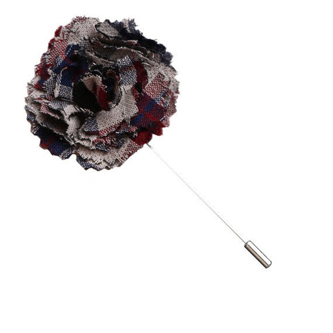 Gray, Maroon and Navy Blue Plaid Lapel Flower Pin - The Detailed Male