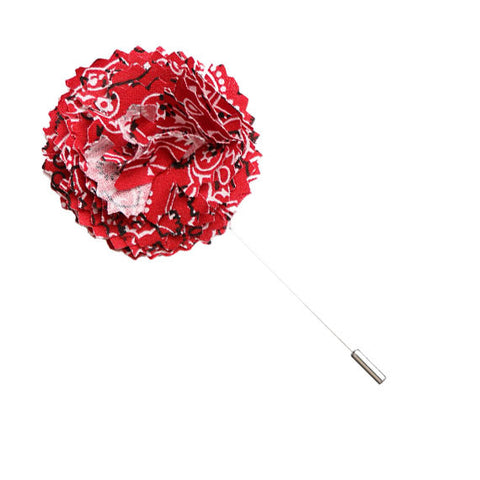 Red Bandana Print Lapel Flower Pin - The Detailed Male