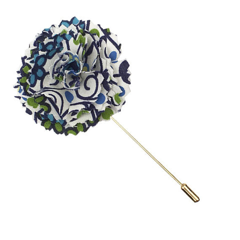 White, Blue and Turquoise Floral Print Lapel Flower Pin - The Detailed Male