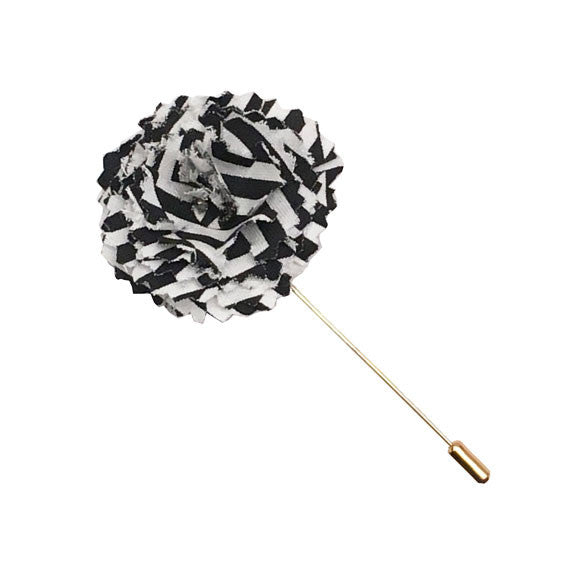 Black And White Stripe Flower Lapel Pin By The Detailed Male