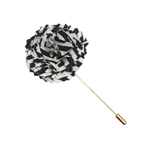 Black and White Stripe Lapel Flower Pin - The Detailed Male