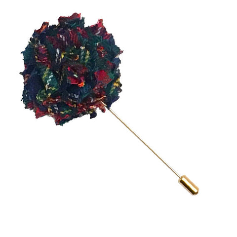 Navy Blue Traditional Tartan Wool Lapel Flower Pin - The Detailed Male