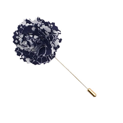 Navy Blue and White Floral Print Lapel Flower Pin - The Detailed Male