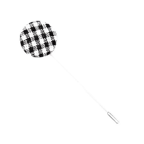 Black and White Gingham Button Lapel Pin - The Detailed Male