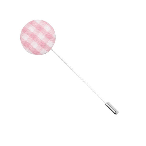 Pink and White Gingham Plaid Button Lapel Pin - The Detailed Male