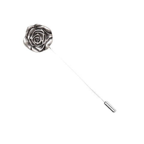 Silver Metal Rose Button Lapel Pin - The Detailed Male