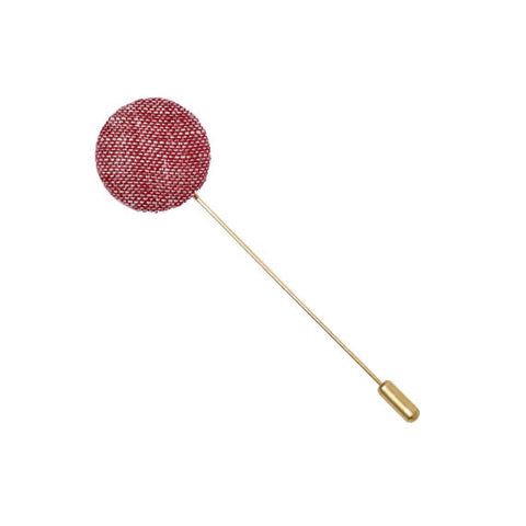 Maroon Linen Button Lapel Pin - The Detailed Male