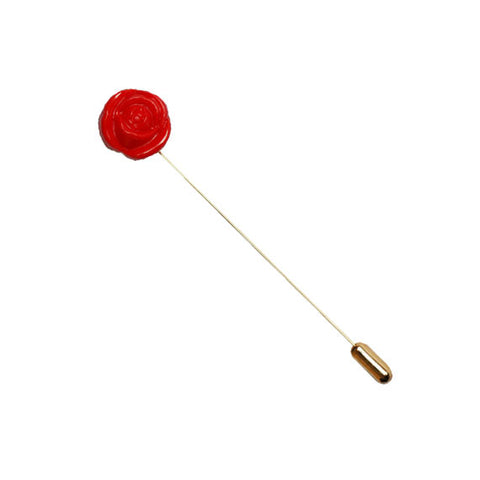 Red Flower Button Lapel Pin - The Detailed Male