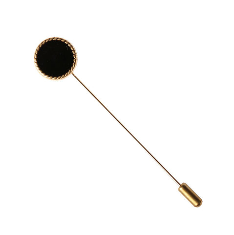 Black and Gold Metal Button Lapel Pin - The Detailed Male