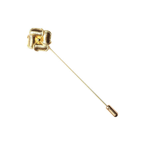 Gold Flower Shape Button Lapel Pin - The Detailed Male