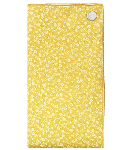 Yellow and White Ditzy Floral Print Pocket Square with White Button - The Detailed Male