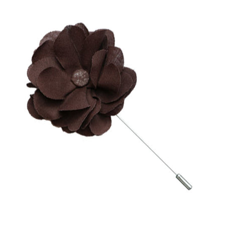 Brown Lapel Flower Pin - The Detailed Male