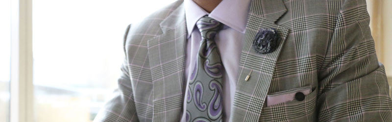 Purple and Grey Plaid Lapel Flower Pin The Detailed Male