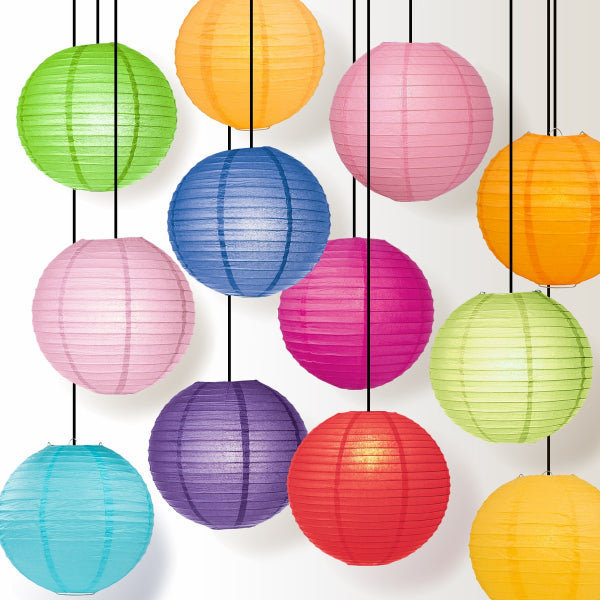 Multi Color Even Ribbing Round Paper Lanterns