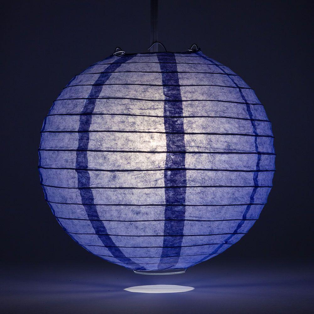 "30"" Astra Blue Jumbo Round Paper Lantern, Even Ribbing, Chinese Hanging Wedding & Party Decoration - AsianImportStore.com - B2B Wholesale Lighting and Decor"