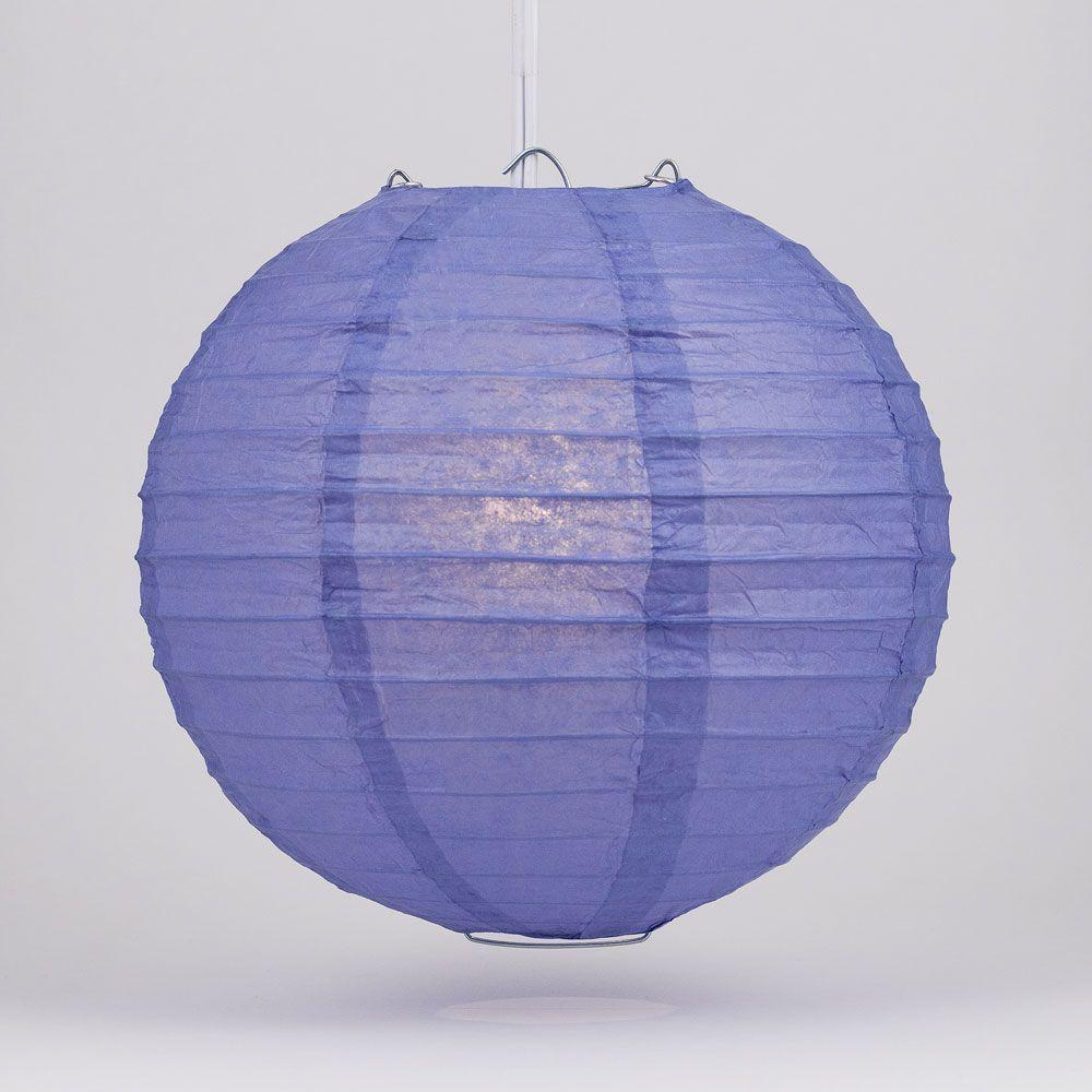"4"" Astra Blue Round Paper Lantern, Even Ribbing, Hanging Decoration (10 PACK)"
