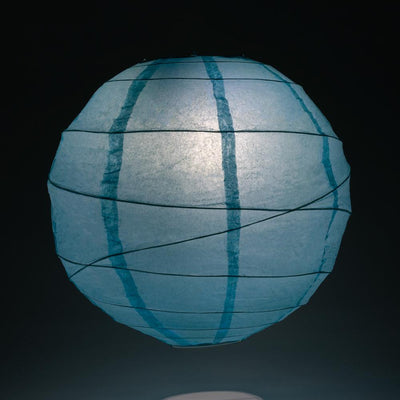 "6"" Baby Blue Round Paper Lantern, Crisscross Ribbing, Chinese Hanging Wedding & Party Decoration"