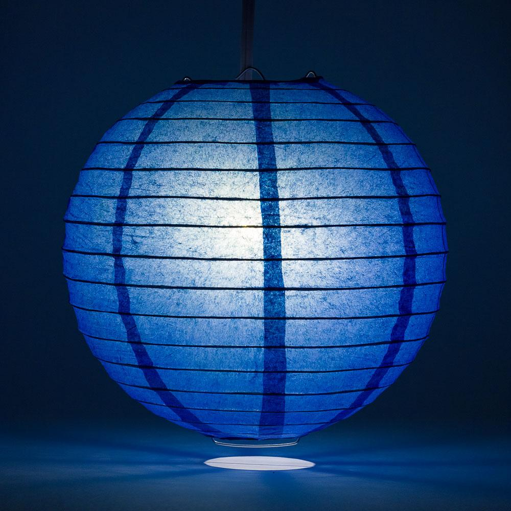 "16"" Dark Blue Round Paper Lantern, Even Ribbing, Chinese Hanging Wedding & Party Decoration"
