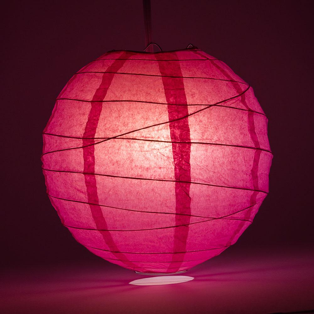 "8"" Fuchsia / Hot Pink Round Paper Lantern, Crisscross Ribbing, Chinese Hanging Wedding & Party Decoration"