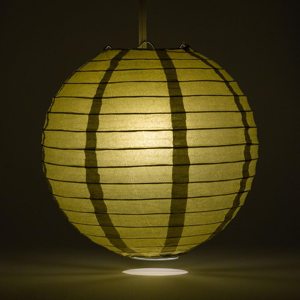 "24"" Gold Round Paper Lantern, Even Ribbing, Chinese Hanging Wedding & Party Decoration"