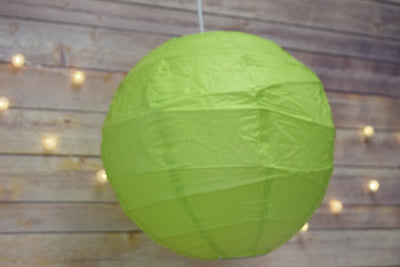 "10"" Grass Greenery Round Paper Lantern, Crisscross Ribbing, Chinese Hanging Wedding & Party Decoration"