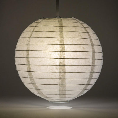 "12"" Gray / Grey Round Paper Lantern, Even Ribbing, Chinese Hanging Wedding & Party Decoration - AsianImportStore.com - B2B Wholesale Lighting and Decor"