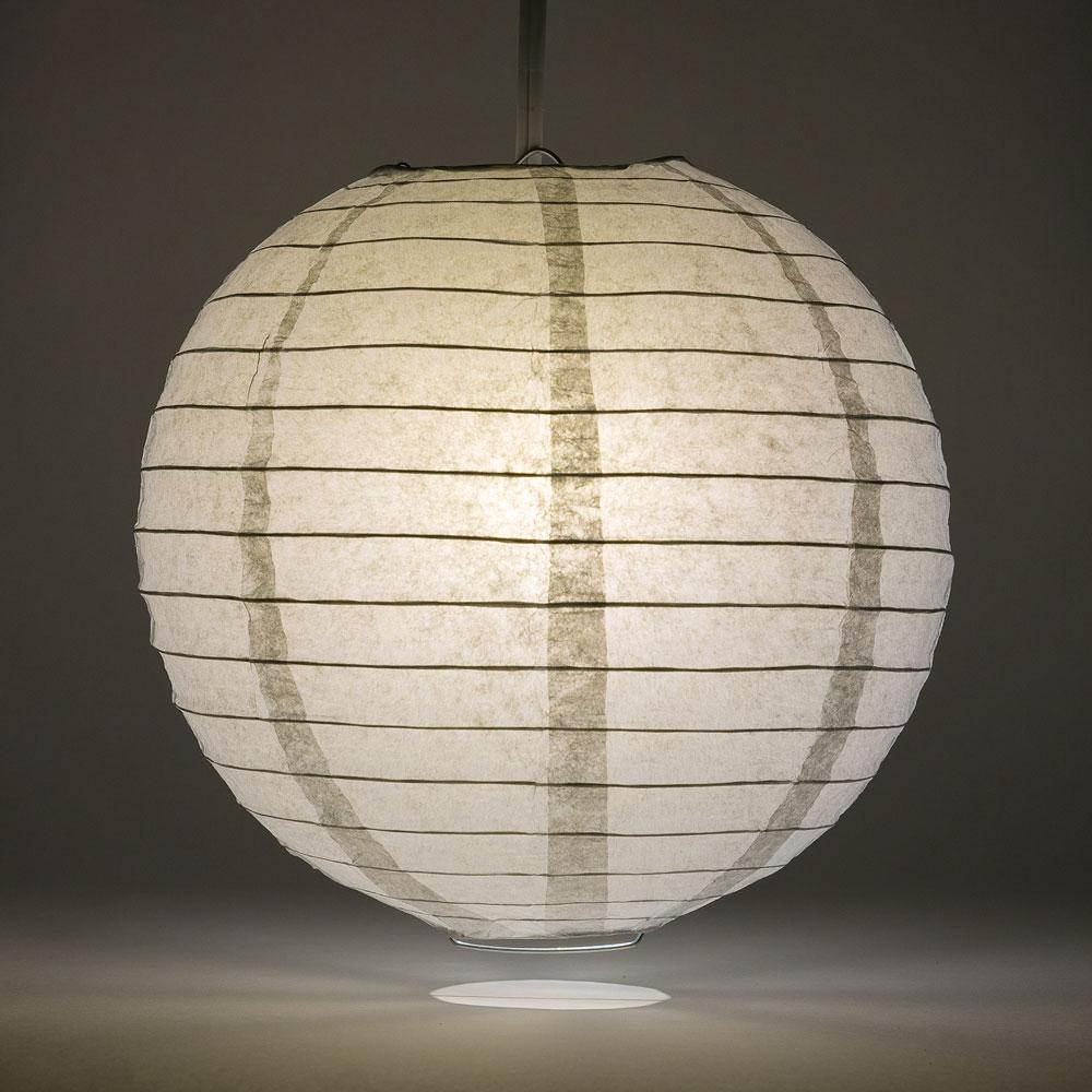 "14"" Gray / Grey Round Paper Lantern, Even Ribbing, Chinese Hanging Wedding & Party Decoration"