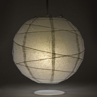 "12"" Gray / Grey Round Paper Lantern, Crisscross Ribbing, Chinese Hanging Wedding & Party Decoration"