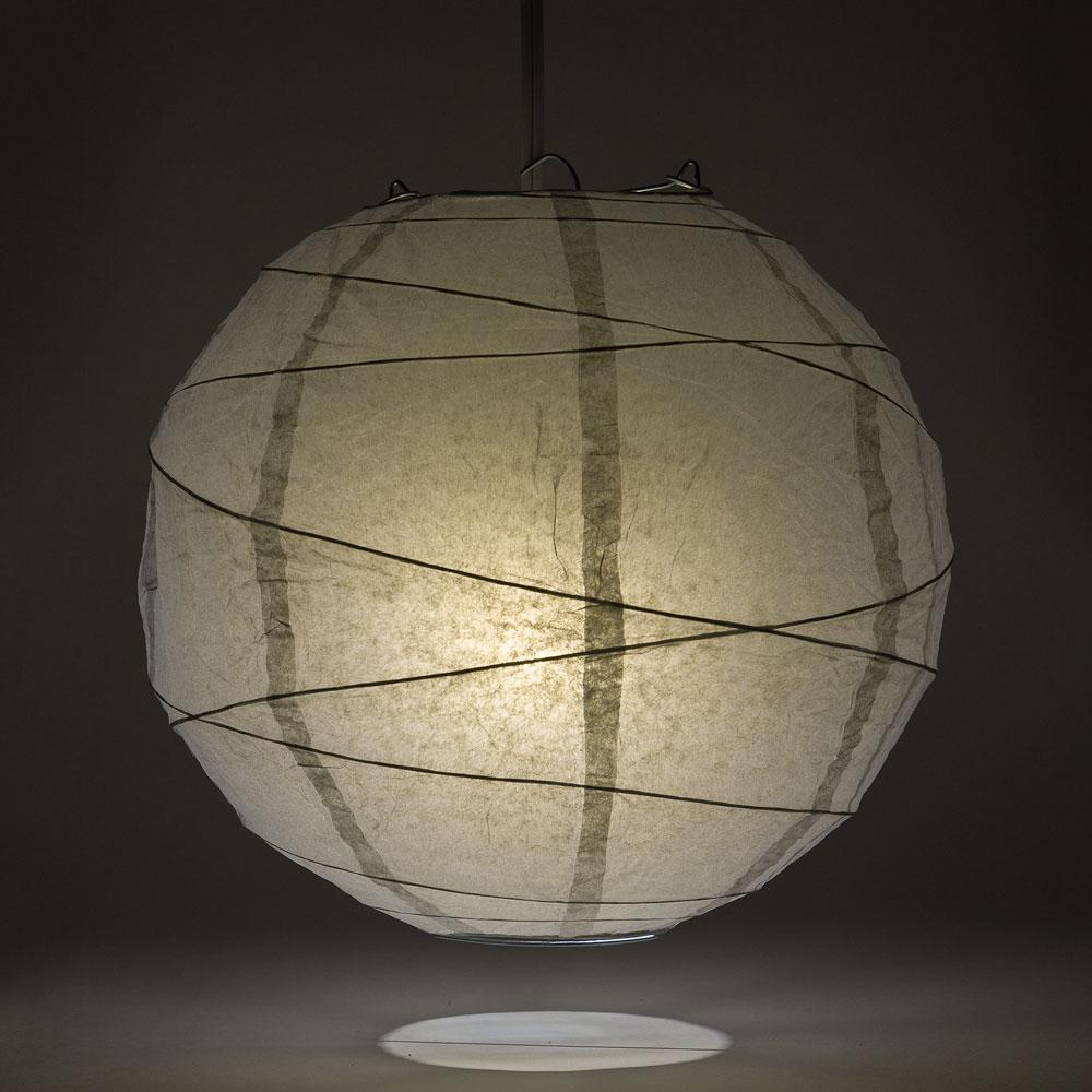 "24"" Gray / Grey Round Paper Lantern, Crisscross Ribbing, Chinese Hanging Wedding & Party Decoration"