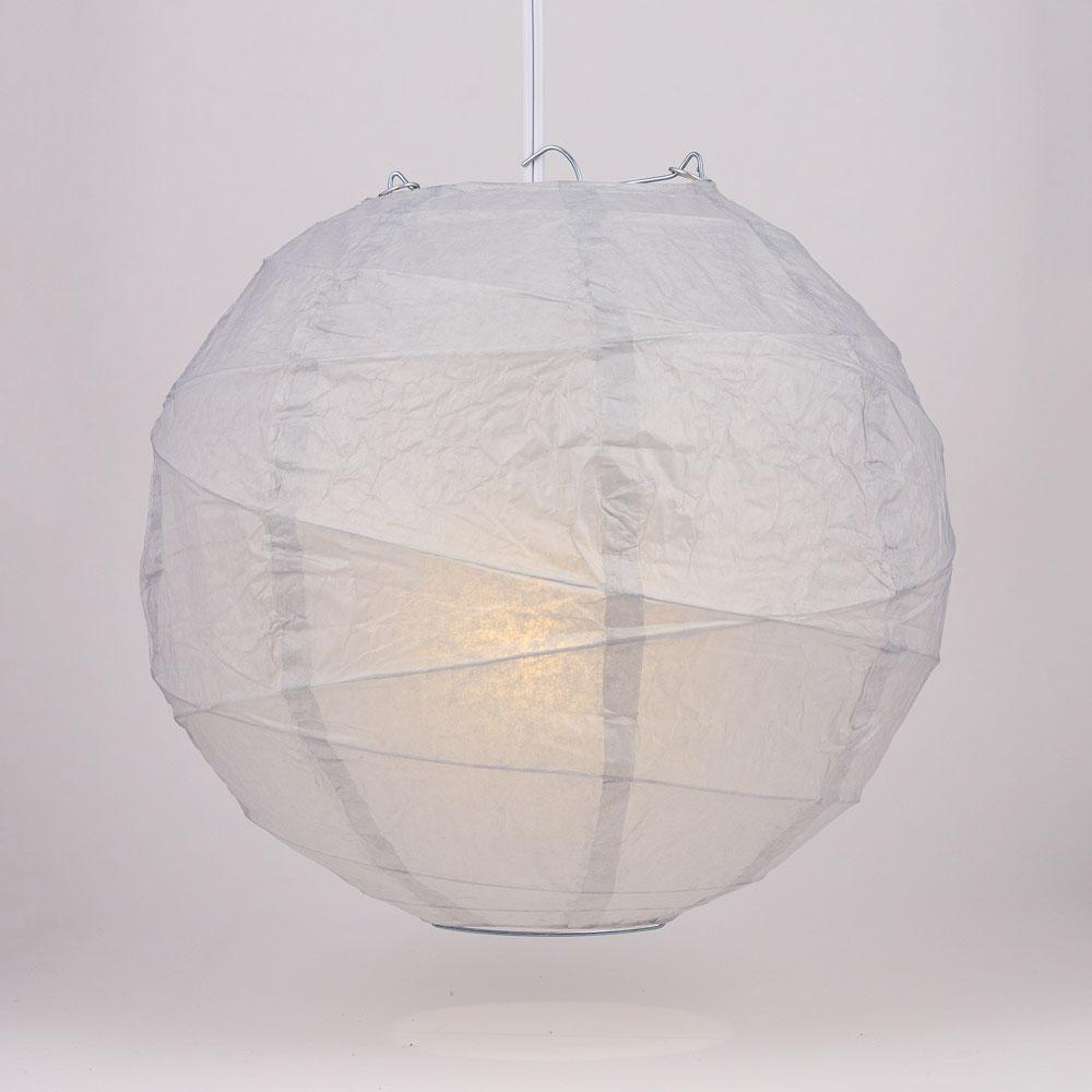 "10"" Gray / Grey Round Paper Lantern, Crisscross Ribbing, Chinese Hanging Wedding & Party Decoration"