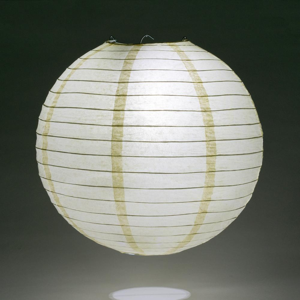 "24"" Ivory Round Paper Lantern, Even Ribbing, Chinese Hanging Wedding & Party Decoration"