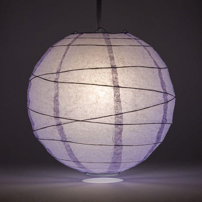 "8"" Lavender Round Paper Lantern, Crisscross Ribbing, Chinese Hanging Wedding & Party Decoration"