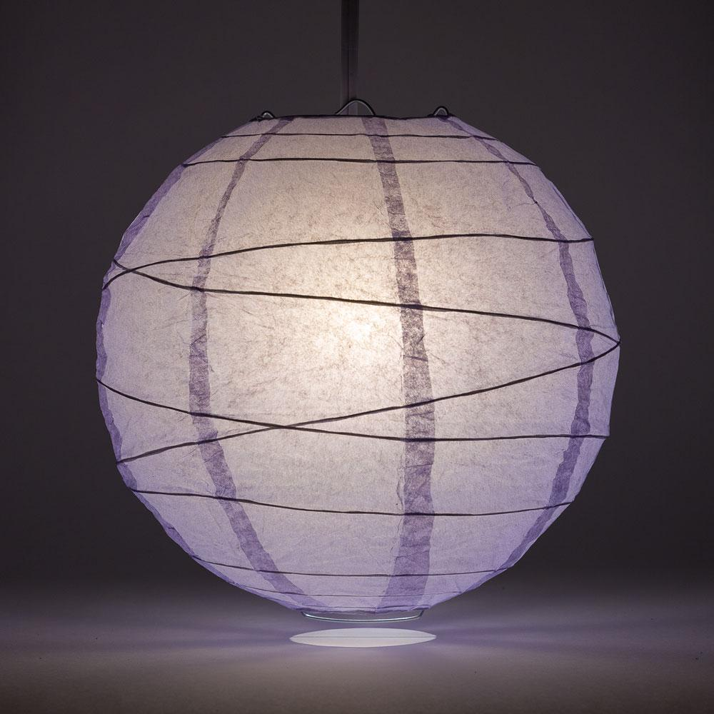 "16"" Lavender Round Paper Lantern, Crisscross Ribbing, Chinese Hanging Wedding & Party Decoration - AsianImportStore.com - B2B Wholesale Lighting and Decor"