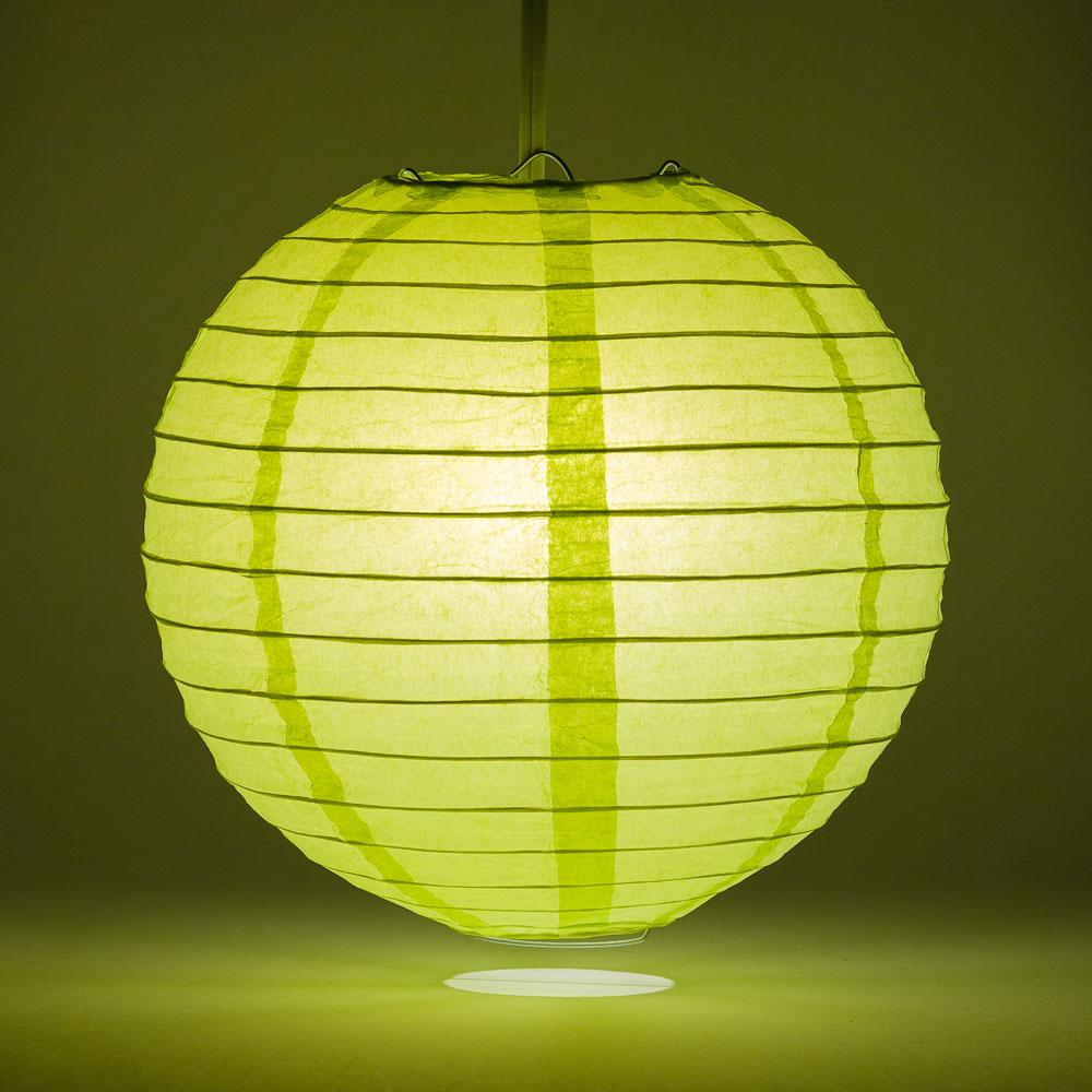 "30"" Light Lime Green Jumbo Round Paper Lantern, Even Ribbing, Chinese Hanging Wedding & Party Decoration"