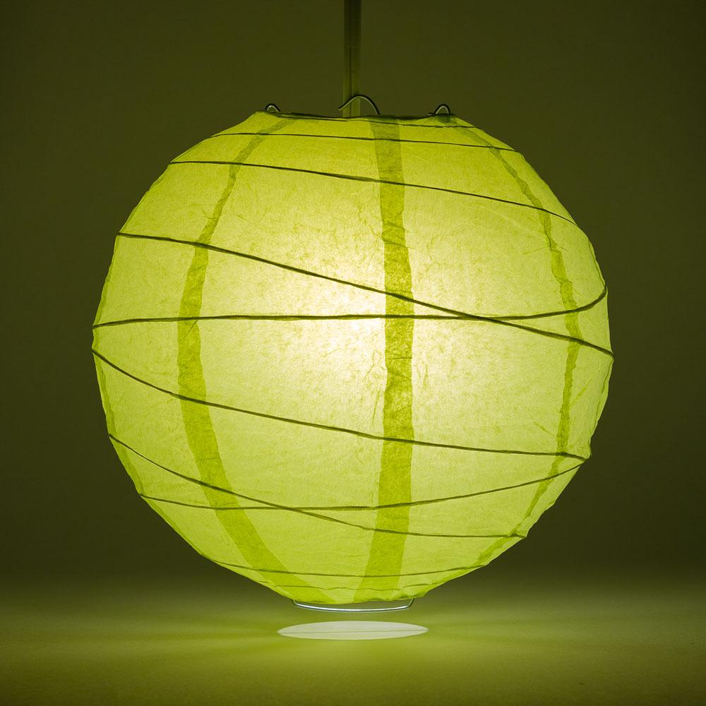 "8"" Light Lime Green Round Paper Lantern, Crisscross Ribbing, Chinese Hanging Wedding & Party Decoration"