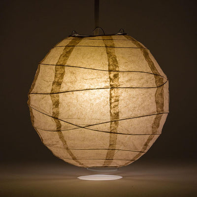 "8"" Mocha / Light Brown Round Paper Lantern, Crisscross Ribbing, Chinese Hanging Wedding & Party Decoration"