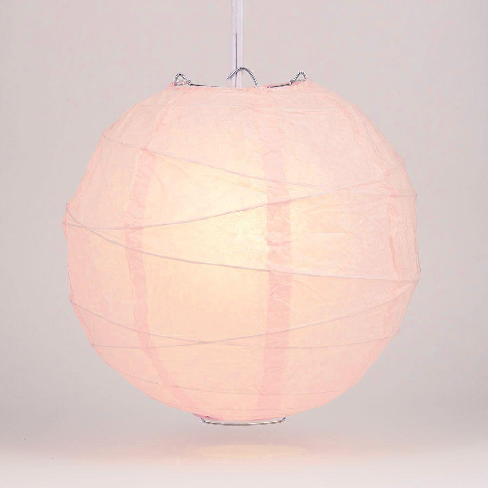"10"" Rose Quartz Pink Round Paper Lantern, Crisscross Ribbing, Chinese Hanging Wedding & Party Decoration"